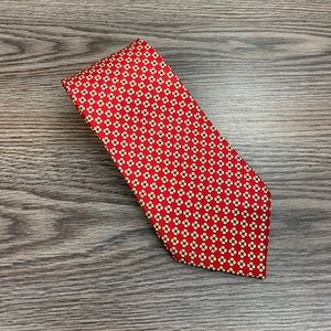 Jos A Bank Red, White, Gold & Black Check Tie